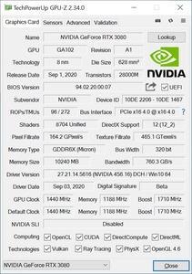 NVIDIA GeForce RTX 3080 mit PCIe 3.0 und 4.0
