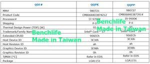Taktraten des Intel Core i9-9900K und Core i7-9700K.
