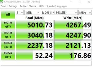 Die M.2-Performance über den Ryzen Threadripper 3960X (DIMM.2-Modul) mit PCIe 4.0 x4.