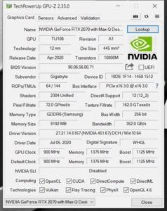 GPUz und CPUz des Gigabyte Aorus 15P WB