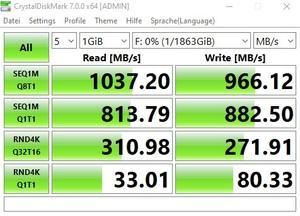 Die USB-3.2-Gen1-Performance über den Ryzen 5 3600X mit Gen2-Werten.