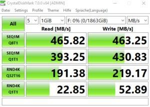 Die USB-3.2-Gen1-Performance über den Z490-Chipsatz.