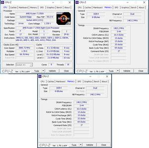 oben links: CPU-OC; oben rechts: RAM-OC mit AMP; unten: manuelles RAM-OC