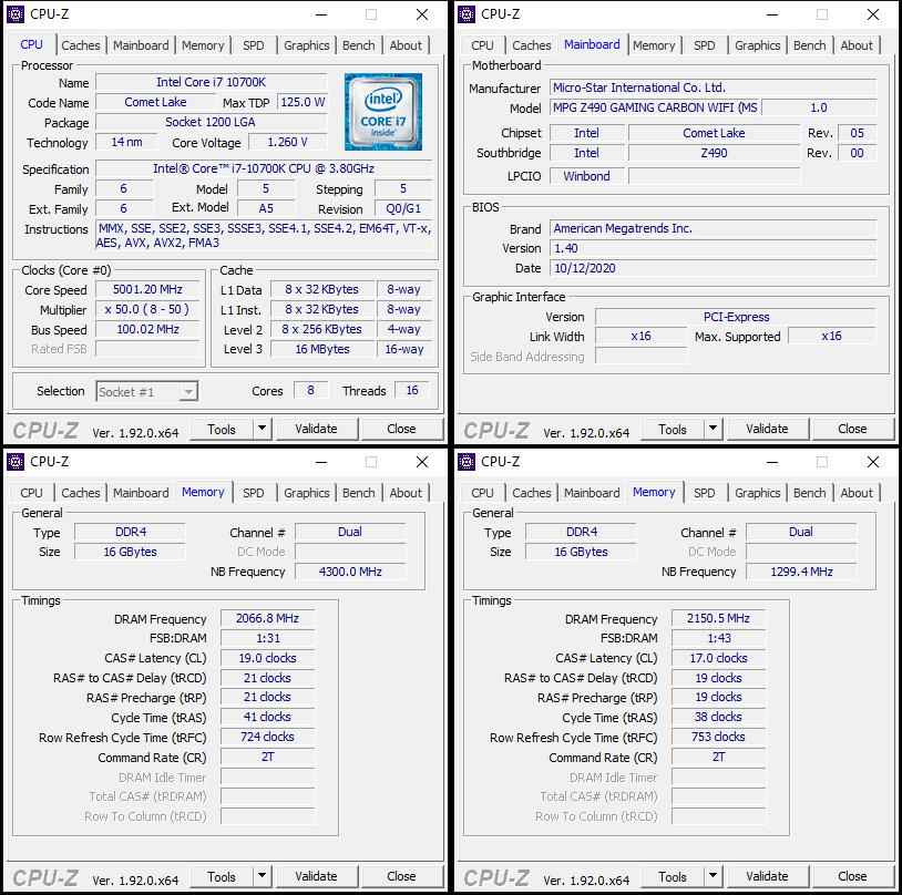 oben links: CPU-OC; unten links: RAM-OC mit XMP; unten rechts: manuelles RAM-OC