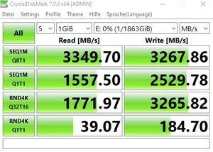 Die M.2-Performance über den Z490-Chipsatz mit PCIe 3.0 x4.