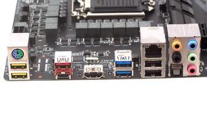 Gigabyte hat den DVI-D-Port gestrichen und das I/O-Panel leicht umstrukturiert.