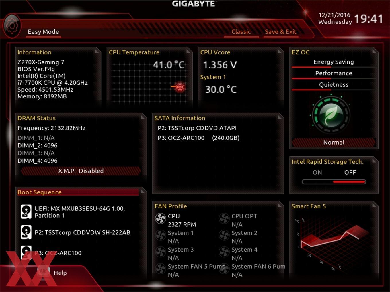 Der EZ-Mode beim Gigabyte GA-Z270X-Gaming 7.