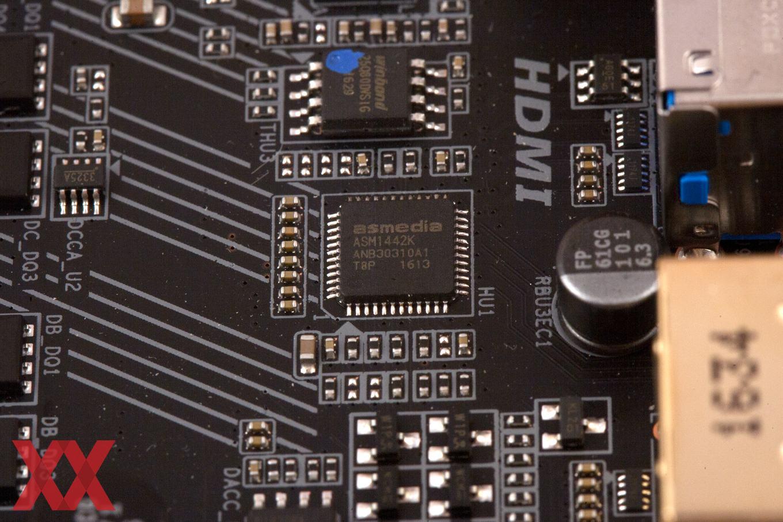 Wichtig ist außerdem der ASMedia ASM1442K als TMDS-Level-Shifter.