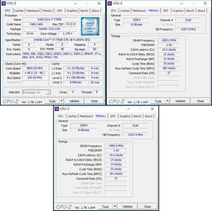 Links oben: CPU-OC; rechts oben: RAM-OC mit XMP; unten: manuelles RAM-OC