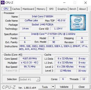 GPUz und CPUz des Gigabyte Aero 15 Classic
