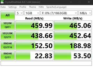 Die USB-3.2-Gen1-Performance über den ASMedia ASM1074.