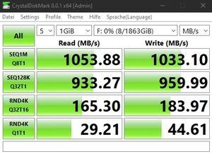 Die USB-3.2-Gen2-Performance über den Thunderbolt-4-Controller (Intel JHL8540).