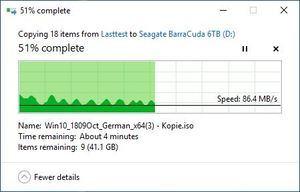 SMR/CMR Artikel Seagate BarraCuda 6 TB beim Schreiben. Typisch für SMR ist ein ständiges Abbremsen des Schreibvorgangs. Teil1