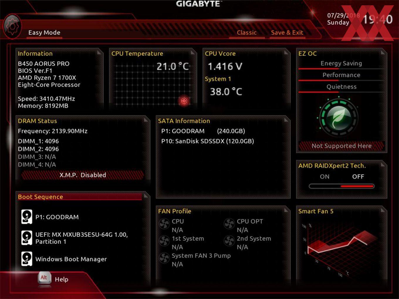 Die UEFI-EZ-Oberfläche beim Gigabyte B450 AORUS Pro