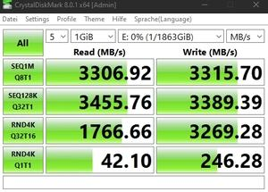 Die M.2-Performance über den Z590-Chipsatz mit PCIe 3.0 x4.