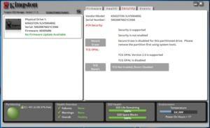 Über den Kingston SSD Manager lassen sich Zustand und Sicherheitsfunktionen abrufen