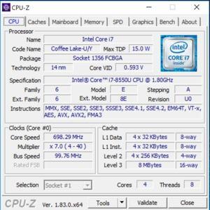 GPUz- und CPUz-Screenshot des Razer Blade Stealth