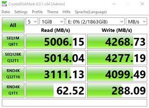Die M.2-Performance über den Core i7-11700K mit PCIe 4.0 x4 (nativ)