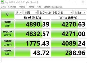 Die M.2-Performance über den Core i7-11700K mit PCIe 4.0 x4 (Zusatz-Steckplatz)