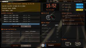 Die UEFI-EZ-Ansicht beim ASRock Fatal1ty X299 Professional Gaming i9.