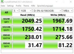 Die USB-3.2-Gen2x2-Performance über den Z590-Chipsatz.