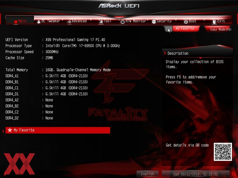 Der Advanced-Mode beim ASRock X99 Professional Gaming i7.