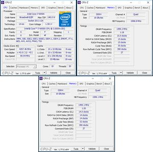 oben links: CPU-OC; oben rechts: RAM-OC mit XMP; unten: RAM-OC ohne XMP