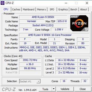 CPUz des AMD Ryzen 9 5950X und Ryzen 7 5800X