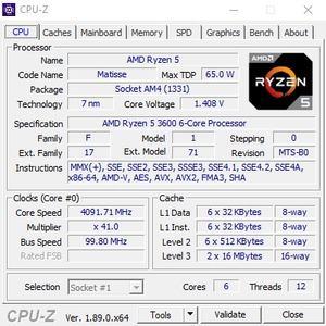 CPUz des AMD Ryzen 5 3600