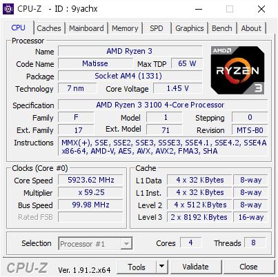 AMD Ryzen 3 3100 bei 5.923 MHz
