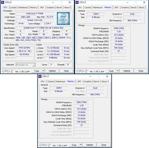 oben links: CPU-OC; oben rechts: RAM-OC (XMP); unten: manuelles RAM-OC