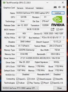 GPUz und CPUz des MSI GT76 Leopard 10UE