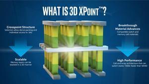 Die Grafik zeigt schematisch den Aufbau von 3D XPoint. Analog zu 3D-NAND lassen sich mehrere Ebenen an Zellen stapeln. (Quelle: Intel)