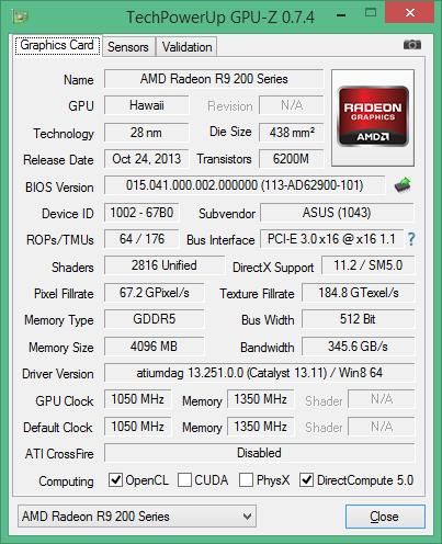 Скриншот GPU-Z ASUS Radeon R9 290X DirectCU II OC