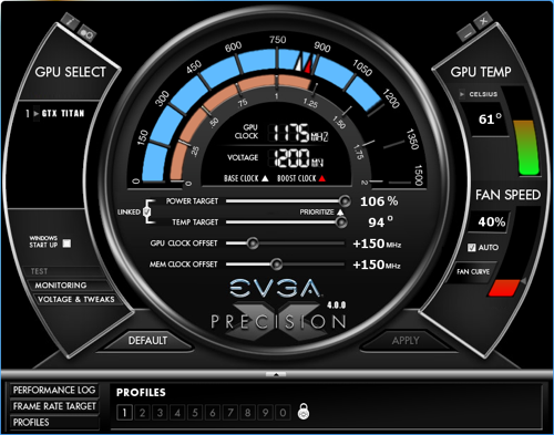 GeForce GTX Titan OC: EVGA Precision
