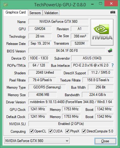 Скриншот GPU-Z ASUS ROG Matrix GTX 980
