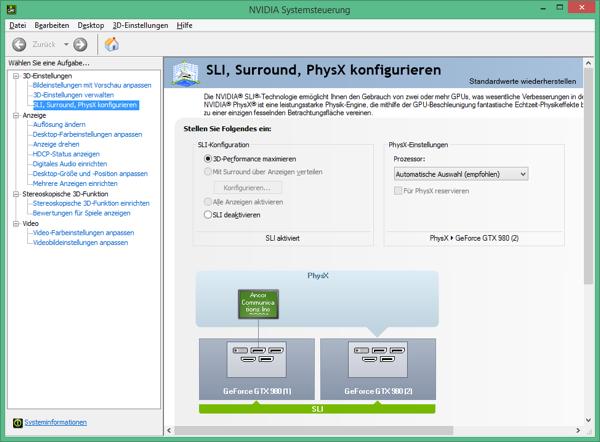 Панель управления NVIDIA в конфигурации SLI