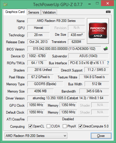 GPU-Screenshot der ASUS ROG Matrix Radeon R9 290X Platinum