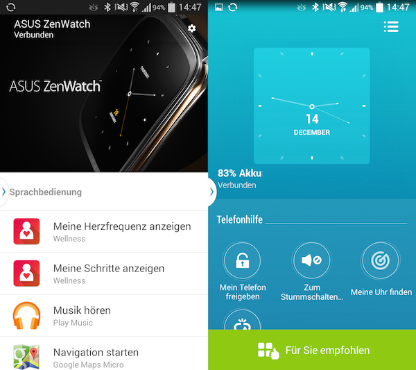 Googles Android-Wear-App links, ASUS' ZenWatch Manager rechts