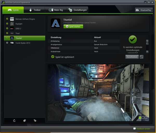 NVIDIA GeForce Experience Titanfall