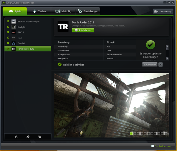 NVIDIA GeForce Experience Tomb Raider