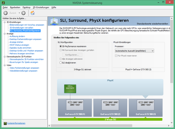 Конфигурация SLI в драйверах NVIDIA GeForce