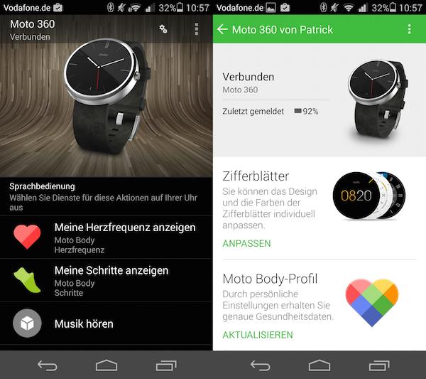 Слева Google Companion, справа приложение Motorola