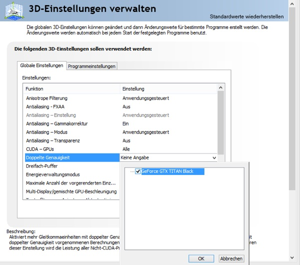 Double-Precision-Einstellung im NVIDIA Control Center