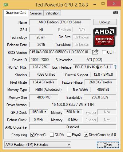Скриншот GPU-Z видеокарты AMD Radeon R9 Fury X