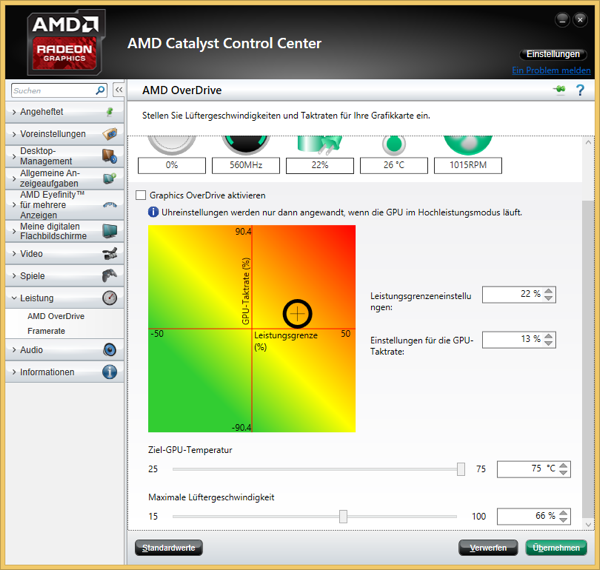 AMD Catalyst Control Center: Overdrive