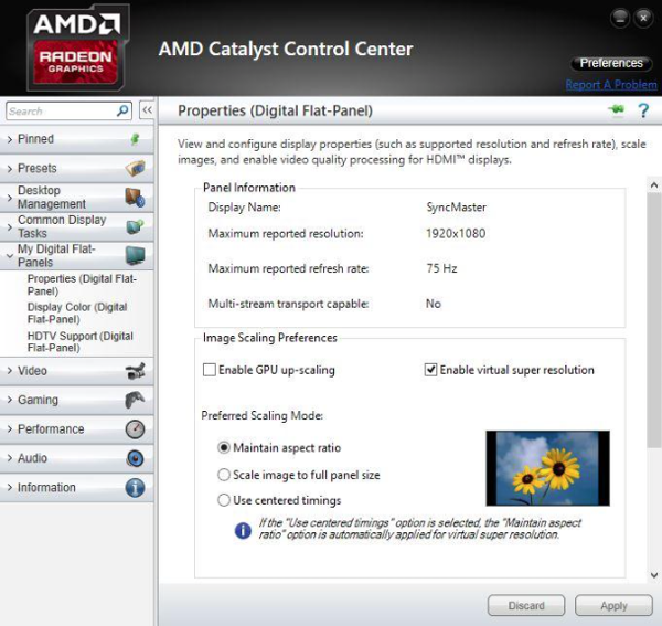 AMD Catalyst Control Center: VSR