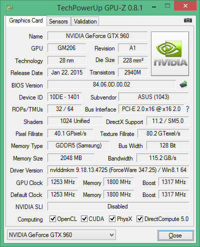 Скриншот GPU-Z видеокарты ASUS GeForce GTX 960 Strix OC