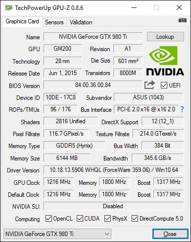GPU-Z screenshot for ASUS ROG Matrix GTX 980 Ti GeForce