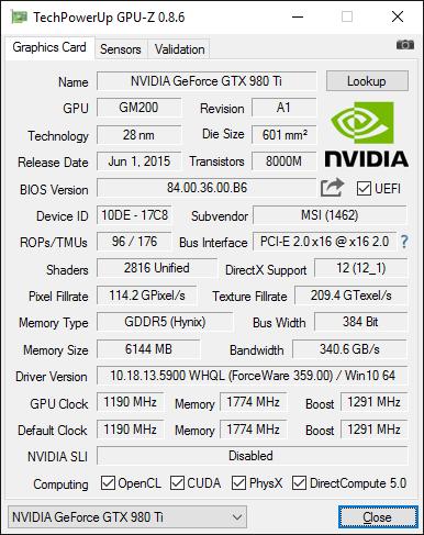GPU-Z-Screenshot zur Radeon R9 Nano